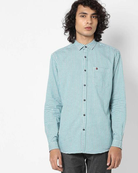 Button-Down Shirt With Spread Collar By British Club ( Green )