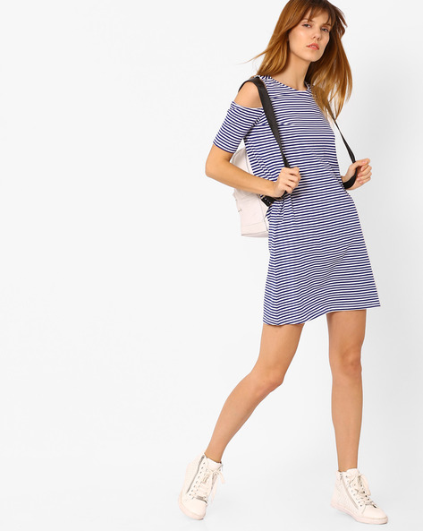 Striped Shift Dress With Cold Shoulders By AJIO ( Blue )