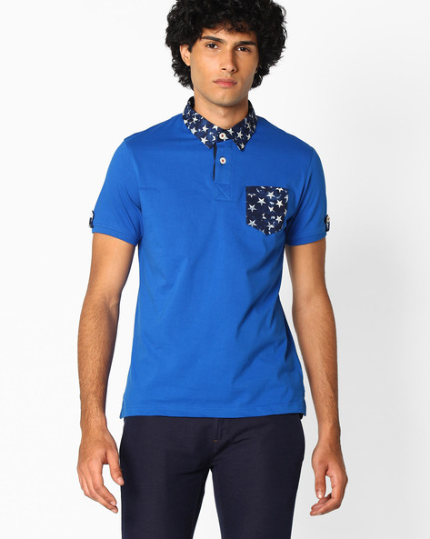 Polo T-shirt With Printed Collar By TEAM SPIRIT ( Blue )