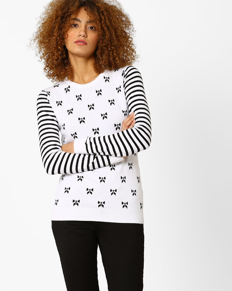 Sweater With Striped Sleeves By Honey By Pantaloons ( Offwhite )