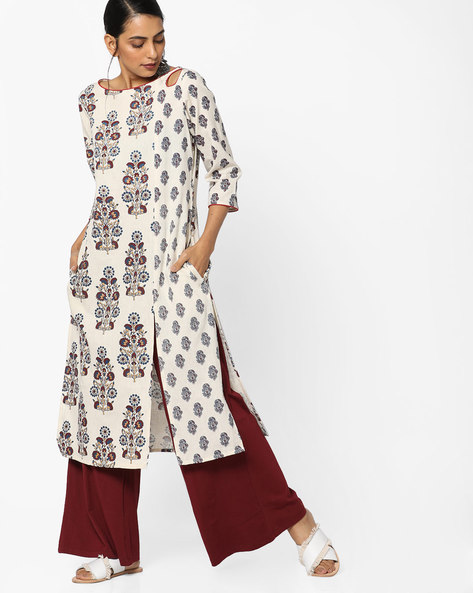 Floral Print Kurta With Front Slit By Melange By Lifestyle ( Offwhite )