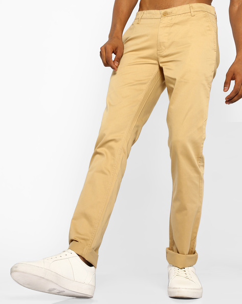 Slim Fit Cotton Trousers By JOHN PLAYERS ( Beige )