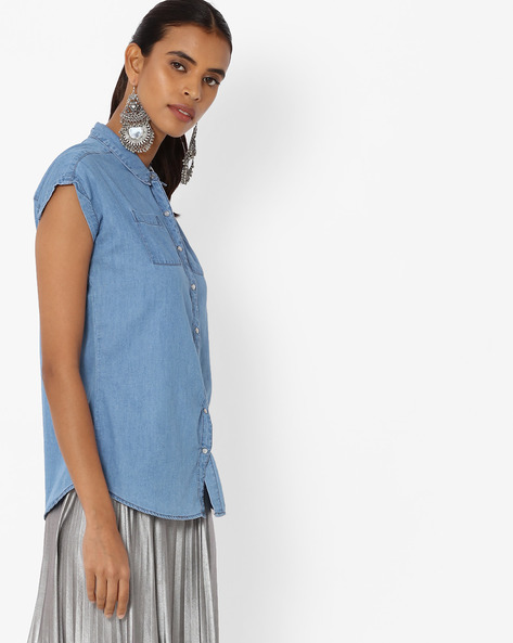 Lightly Washed Shirt With Cap Sleeves By KRAUS ( Mediumblue )