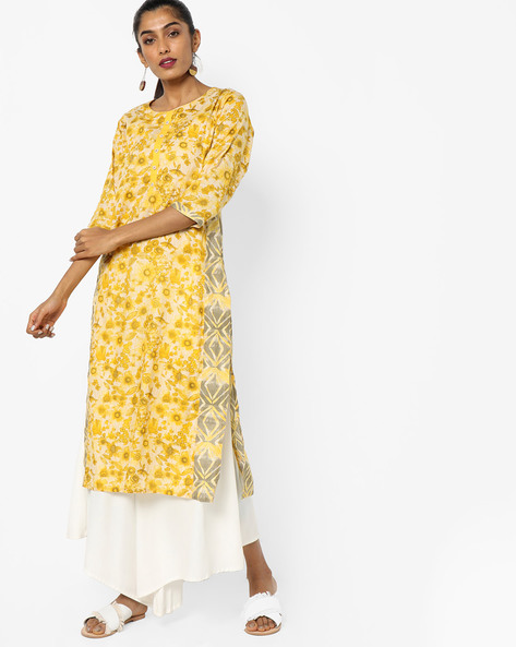 Floral Print Kurta With Mock Button Placket By Shree ( Yellow )