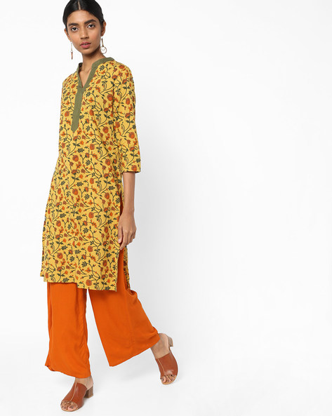 Floral Print Tunic With Notched Band Collar By AJIO ( Mustard )