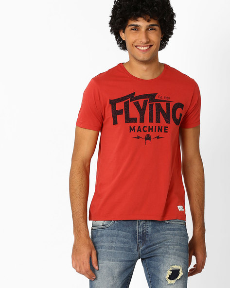 Crew-Neck T-shirt With Typographic Print By FLYING MACHINE ( Red )