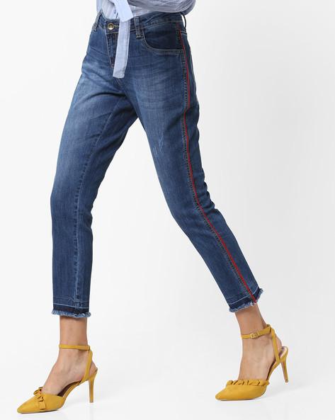 Slim Fit Jeans With Frayed Hems By AJIO ( Darkblue )