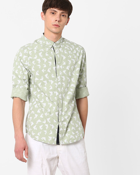 Geometric Print Slim Fit Shirt By AJIO ( Lightgreen )