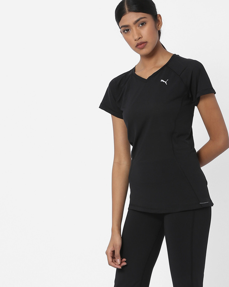 V-neck T-shirt With Short Sleeves By Puma ( Clearblack )