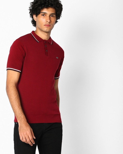 Printed Polo T-shirt By NETPLAY ( Maroonburg )
