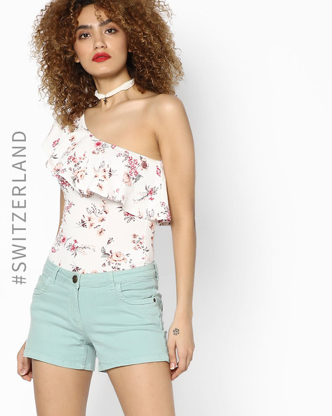 One-Shoulder Floral Print Top By TALLY WEiJL ( Offwhite )