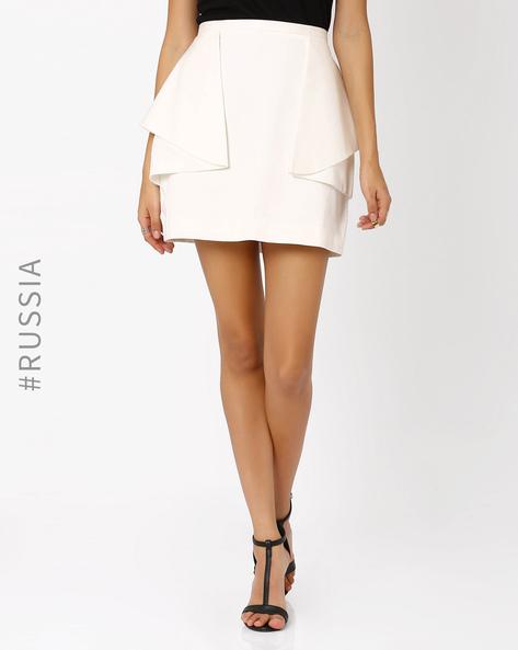 Ruffled Mini Skirt By Kira Plastinina ( White )