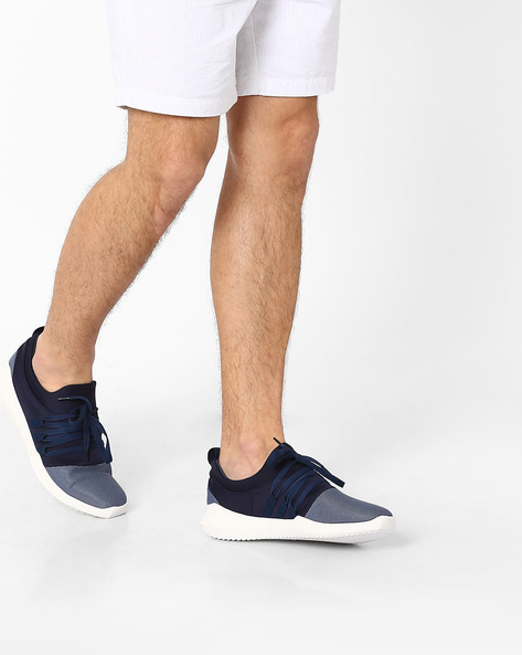 Knitted Lace-Up Sneakers By AJIO ( Navyblue )