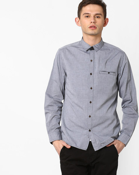 Slim Fit Shirt With Welt Pocket By AJIO ( Black )