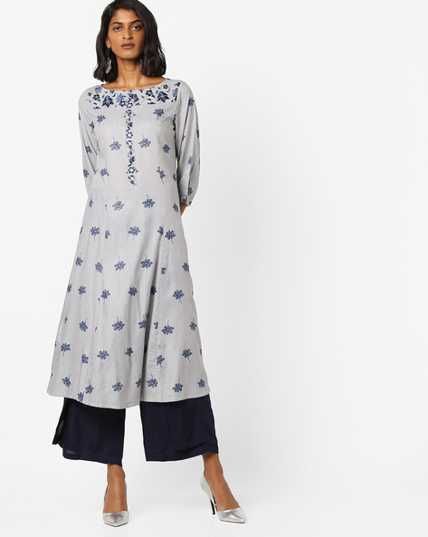 Printed A-line Kurta With Floral Embroidery By AJIO ( Lightgrey )