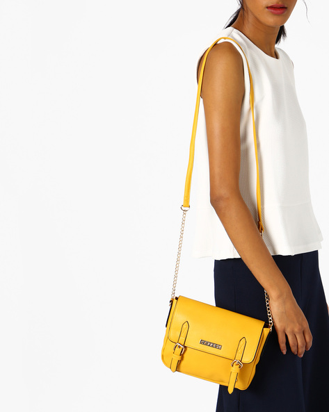 Erica Sling Bag With Flap Closure By CAPRESE ( Yellow )