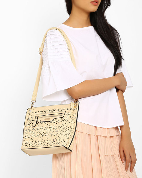 Sling Bag With Floral Cutwork By Lavie ( Lightgrey )