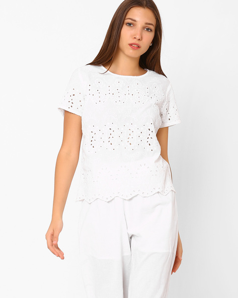 Schiffli Top With Keyhole By Rena Love ( White )