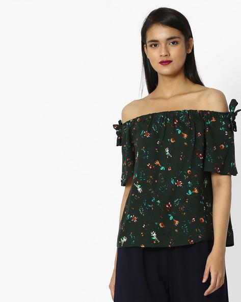 Floral Off-Shoulder Top By Vero Moda ( Greenapple )