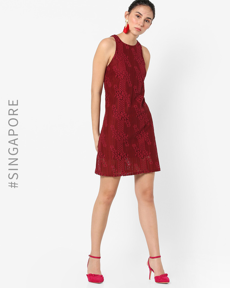 Sleeveless Lace Shift Dress By MDS ( Red )