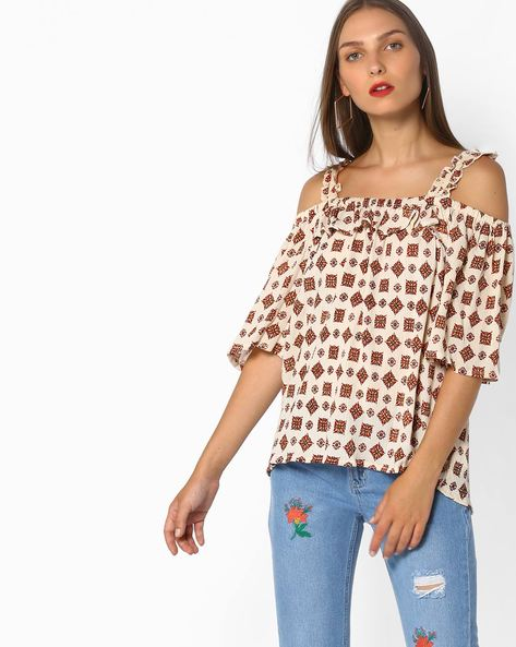 Printed Strappy Cold-Shoulder Top By AJIO ( Offwhite )