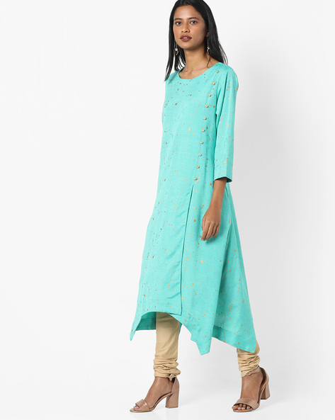Splatter Print A-line Kurta By Project Eve IW Casual ( Green )