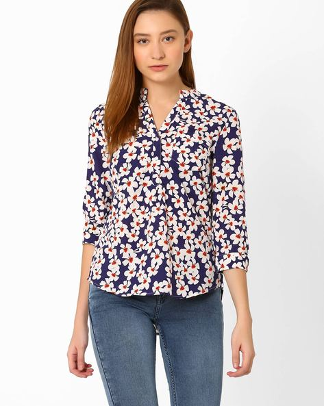 Floral Print High-Low Top By Vero Moda ( Blue )