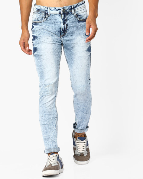 Skinny Fit Denims With Acid Wash By ADAMO LONDON ( Blue )