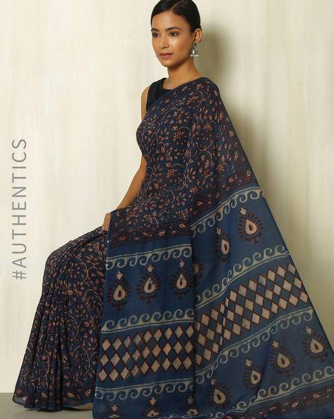 Tarapur Hand Block Print Indigo Cotton Saree By Indie Picks ( Indigo ) - 460084392001