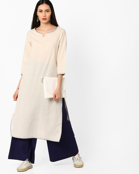 Straight Kurta With Side Slits By Melange By Lifestyle ( Offwhite )