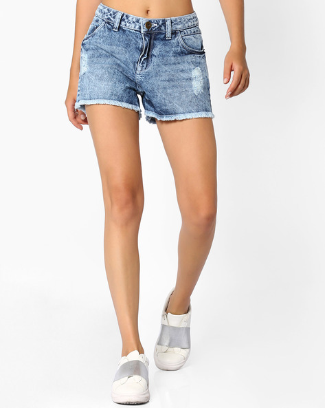 Distressed Shorts With Frayed Hems By Ginger By Lifestyle ( Lightblue )