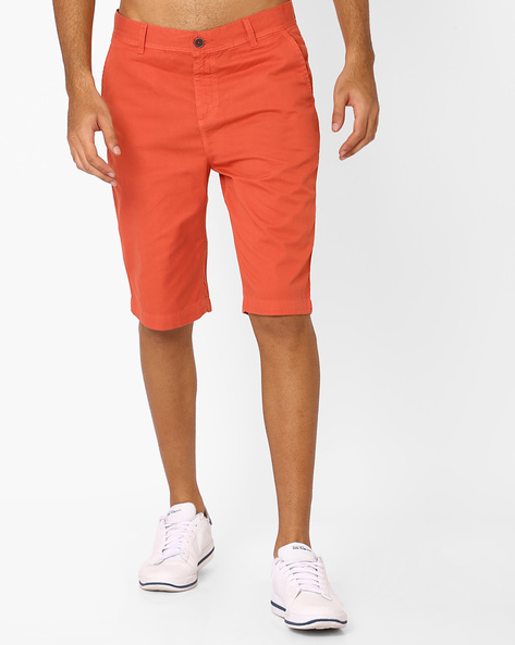 Slim Fit Mid-Rise Chino Shorts By Nature Casuals ( Orange )