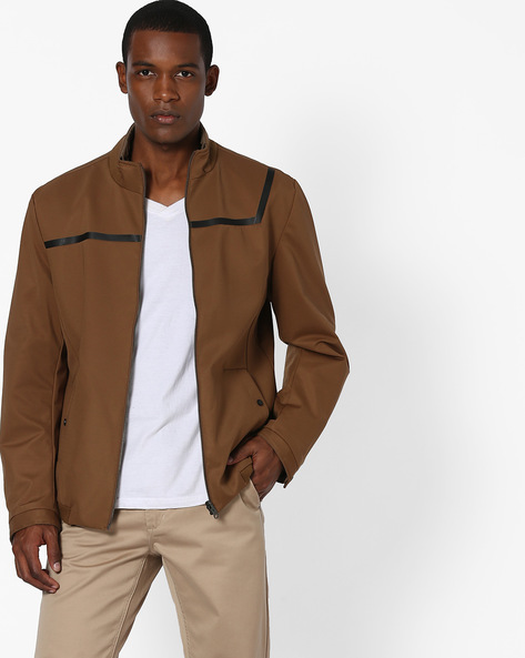 Slim Fit Panelled Jacket By Fort Collins ( Khaki )