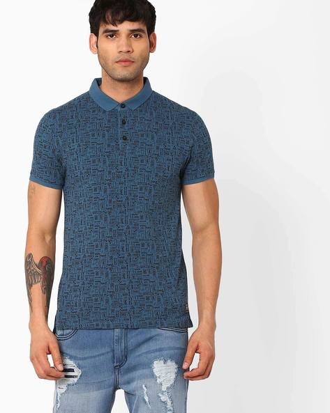 Printed Slim Polo T-shirt By Jack & Jones ( Blue )
