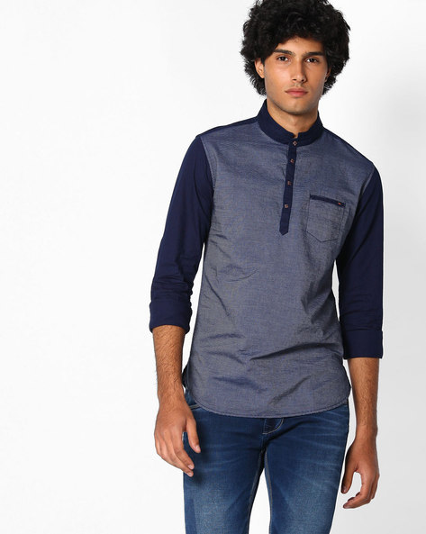 Slim Fit Shirt With Patch Pocket By The Indian Garage Co ( Darkblue )