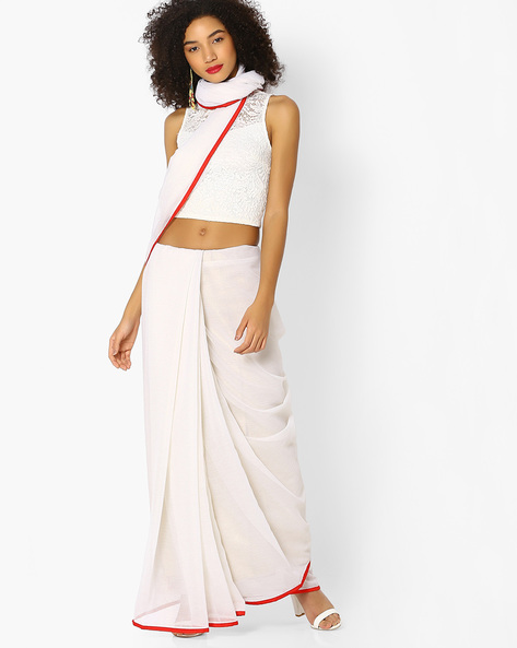 Chiffon Saree With Contrast Border By Vastrangi ( White )