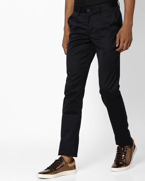 Slim Fit Flat-Front Trousers By JOHN PLAYERS ( Navy )