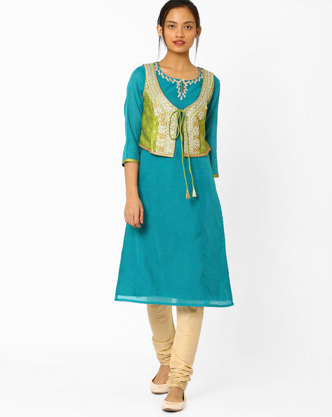 Straight Kurta With Embroidered Jacket By AJIO ( Teal )