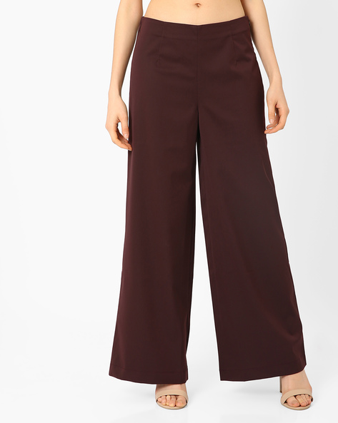 High-Rise Wide-Leg Trousers By AJIO ( Maroon )