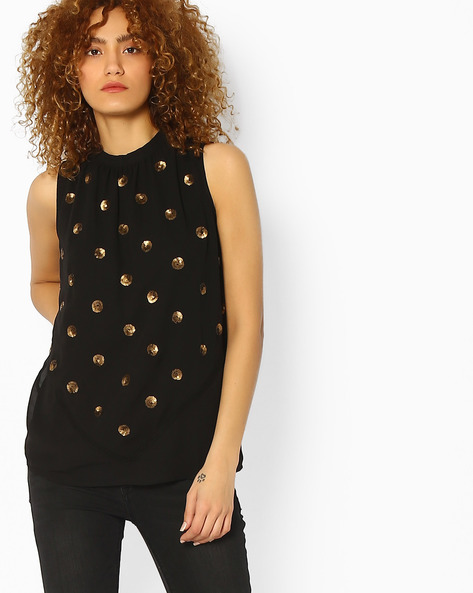 Panelled Top With Embellishments By Ginger By Lifestyle ( Black )
