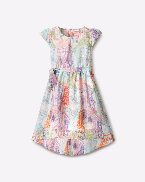 Graphic Print High-Low Dress By Peppermint ( Multi )
