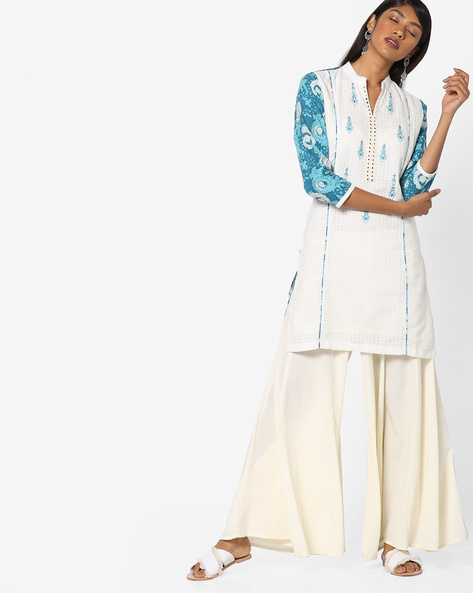 Straight Kurta With Printed Sleeves By SOCH ( White )