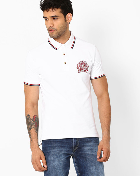Polo T-shirt With Embroidered Logo By JOHN PLAYERS ( White )