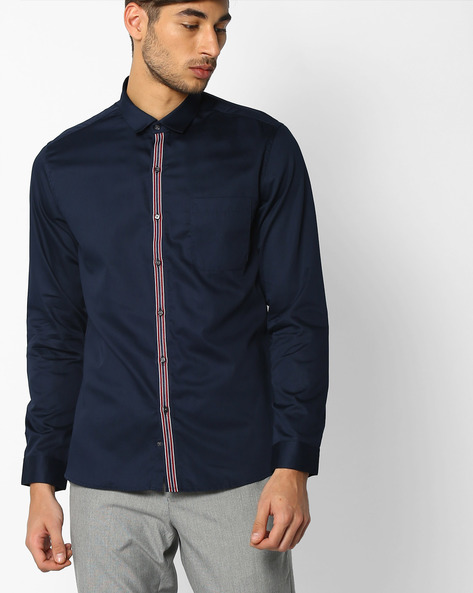Regular Fit Shirt With Patch Pocket By NETPLAY ( Navy )