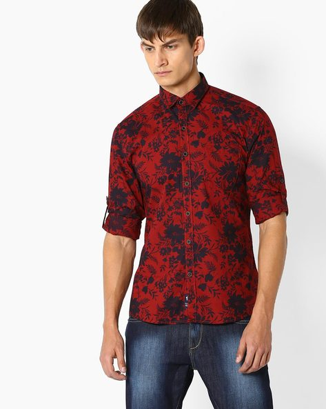 Cotton Floral Print Shirt By NETPLAY ( Maroonburg )