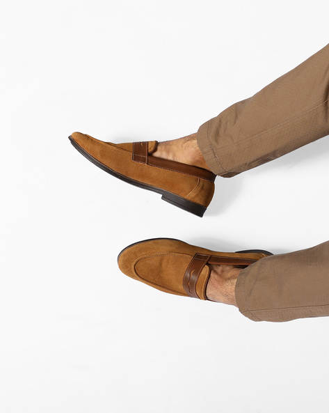 Suede Penny Loafers By Modello Domani ( Tan )