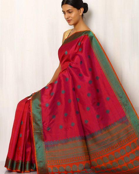 Handwoven Buti Pure Silk Resham Border Saree By Rudrakaashe-MSU ( Purple )