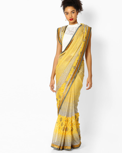 Printed Saree With Embroidery By Parmita ( Yellow )