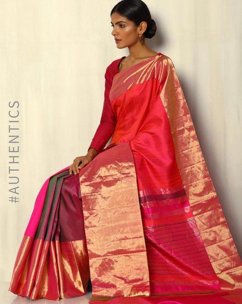 Pure Silk Dupion Handloom Saree With Zari Border By Pretty Woman ( Fuchsia )