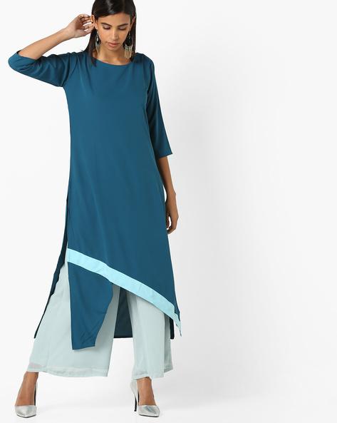 A-line Kurta With Asymmetric Hemline By Janasya ( Turquoise )